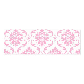 Girly Pink White Vintage Damask Pattern Business Card Template