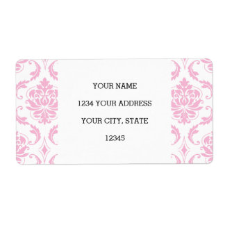 Girly Pink White Vintage Damask Pattern Shipping Label