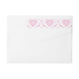 Girly Pink White Vintage Damask Pattern Wraparound Return Address Label