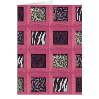 Girly Pink Wooden Framed Animal Prints Card
