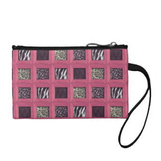 Girly Pink Wooden Framed Animal Prints Coin Purse