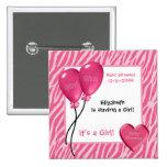 Girly Pink Zebra Print Girl Baby Shower Pinback Buttons