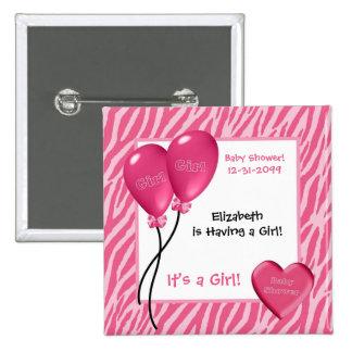Girly Pink Zebra Print Girl Baby Shower 15 Cm Square Badge