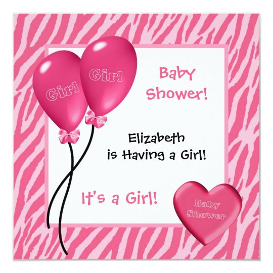 Girly Pink Zebra Print Girl Baby Shower Card