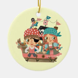 Girly Pirates Round Ceramic Decoration
