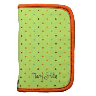 Girly Polka Dot Pattern Custom Name Lime Green Folio Planner