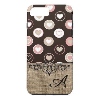 Girly Polka Dots and Burlap Pattern With Monogram iPhone 8 Plus/7 Plus Case