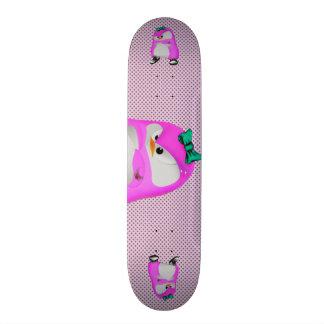 Girly Polka Dots Pink Hip Hop Fashion Penguin 21.6 Cm Old School Skateboard Deck