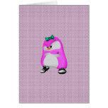 Girly Polka Dots Pink Hip Hop Fashion Penguin Greeting Card