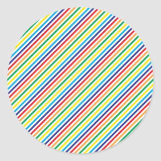 Girly Pretty Colorful Rainbow Diagonal Stripes Round Sticker