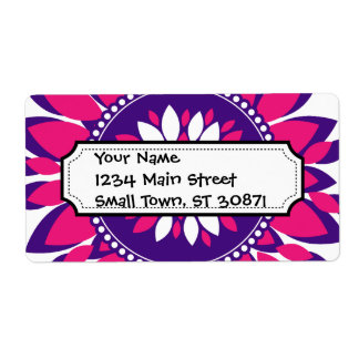 Girly Pretty Pink and Purple Flower Art Gifts Shipping Label