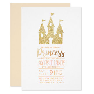 Girly Princess Birthday | Themed Party 13 Cm X 18 Cm Invitation Card