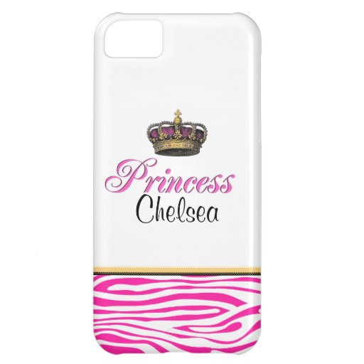 Girly Princess crown hot pink zebra iPhone 5C Case