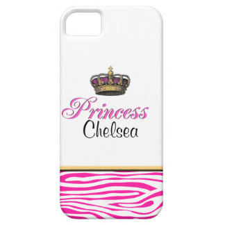 Girly Princess crown hot pink zebra Case For The iPhone 5