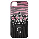 Girly princess pink and black zebra print iPhone 5 cover