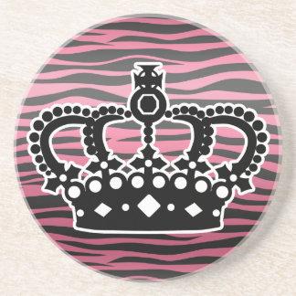 Girly princess pink and black zebra print beverage coasters