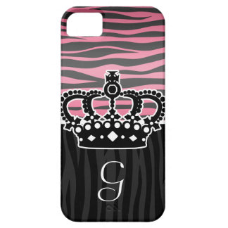 Girly princess pink and black zebra print iPhone 5 covers