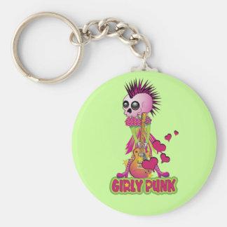 Girly Punk Rocker Basic Round Button Key Ring