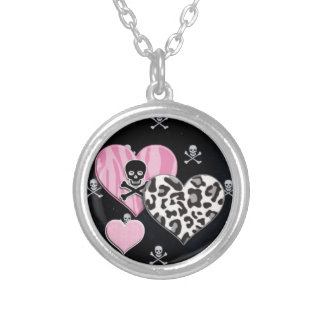 Girly Punk Round Silver Necklace