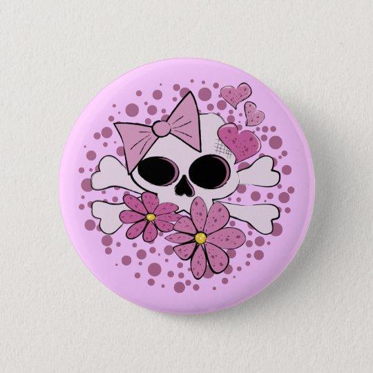 Girly Punk Skull 6 Cm Round Badge