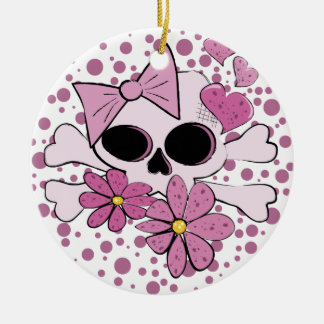 Girly Punk Skull Christmas Ornament