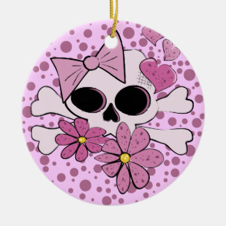 Girly Punk Skull Christmas Ornament
