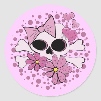 Girly Punk Skull Classic Round Sticker