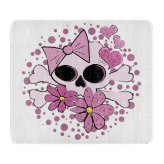 Girly Punk Skull Cutting Board