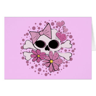 Girly Punk Skull Greeting Card