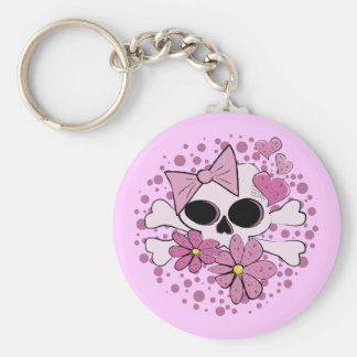 Girly Punk Skull Basic Round Button Key Ring