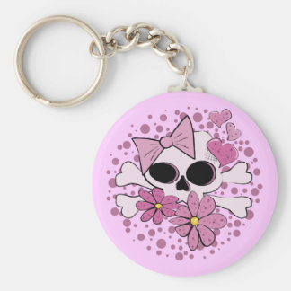 Girly Punk Skull Key Ring