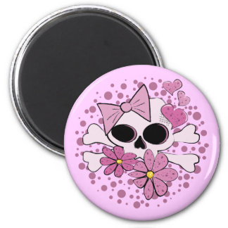 Girly Punk Skull 6 Cm Round Magnet