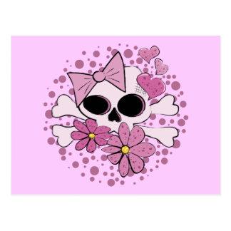 Girly Punk Skull Postcard