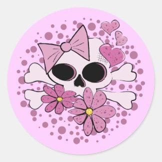 Girly Punk Skull Round Sticker
