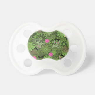 Girly Punk Skulls on Flower Camo background Baby Pacifiers