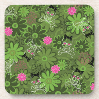 Girly Punk Skulls on Flower Camo background Beverage Coasters