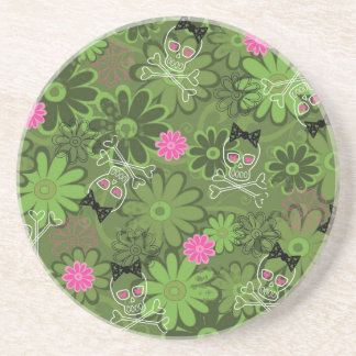 Girly Punk Skulls on Flower Camo background Drink Coaster