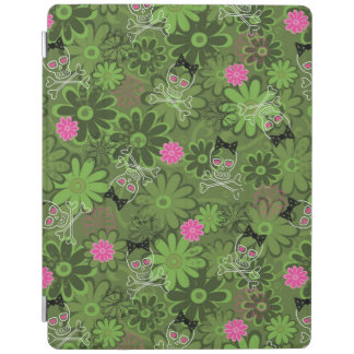Girly Punk Skulls on Flower Camo background iPad Cover