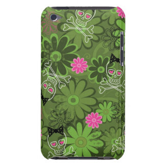 Girly Punk Skulls on Flower Camo background iPod Touch Covers