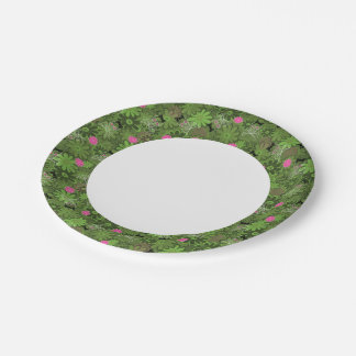 Girly Punk Skulls on Flower Camo background Paper Plate