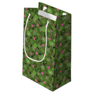 Girly Punk Skulls on Flower Camo background Small Gift Bag