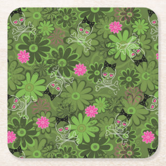 Girly Punk Skulls on Flower Camo background Square Paper Coaster