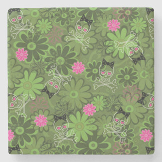 Girly Punk Skulls on Flower Camo background Stone Coaster