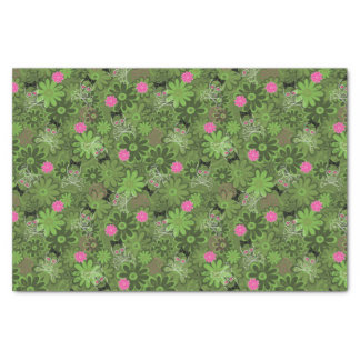Girly Punk Skulls on Flower Camo background Tissue Paper