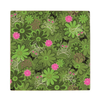 Girly Punk Skulls on Flower Camo background Wood Coaster