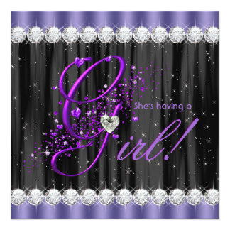Girly Purple Baby Shower Personalized Announcements