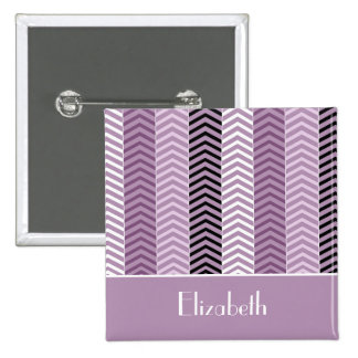 Girly Purple Chevron Stripes Pattern With Name 15 Cm Square Badge
