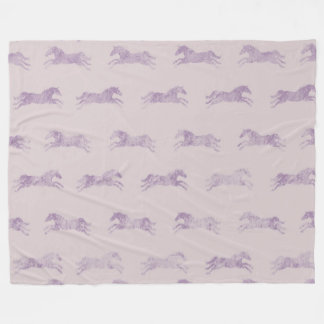 Girly Purple Classic Equestrian Horses Fleece Blanket