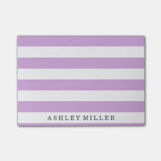 Girly Purple Classic Stripes Monogram Notes