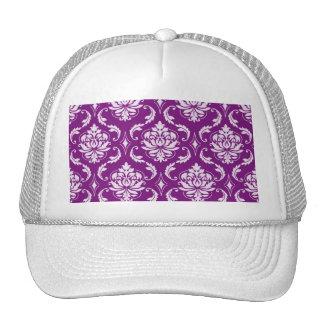 Girly Purple Damask Pattern Mesh Hat